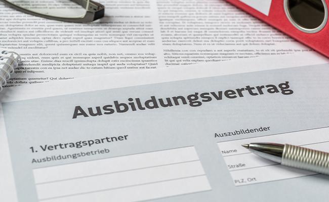Dokument eines Ausbildungsvertrags